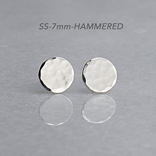 723a86c2a Image Unavailable. Image not available for. Color: Sterling Silver Round  Disc Stud Earrings SS-7M-HAMMERED STUDS