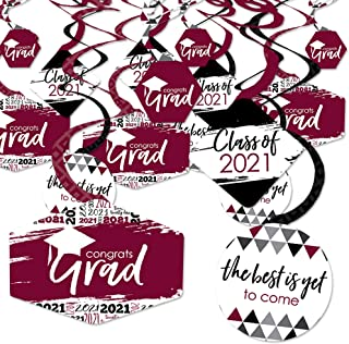 product image for Big Dot of Happiness Maroon Grad - Best is Yet to Come - 2021 Burgundy Graduation Party Hanging Decor - Party Decoration Swirls - Set of 40