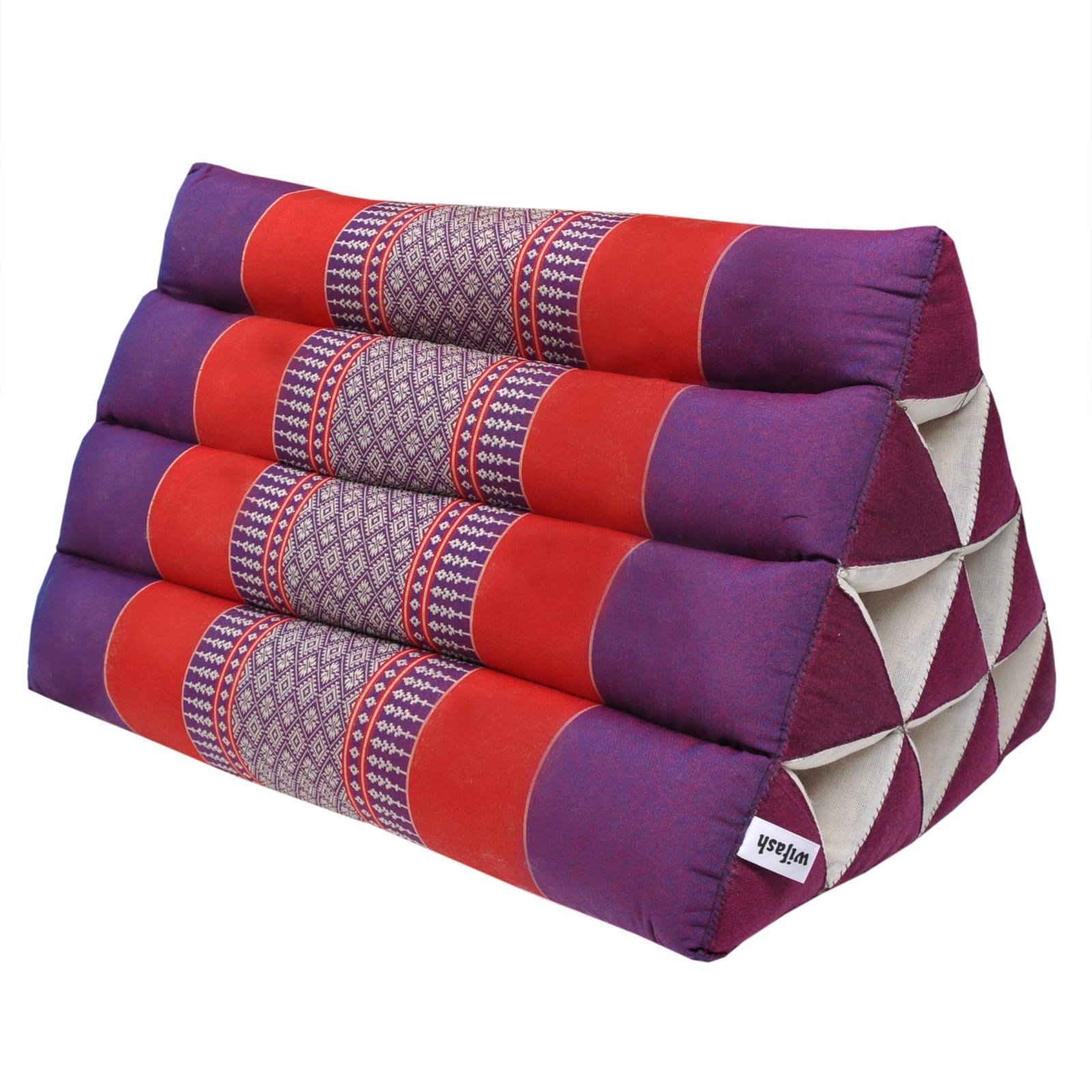 Thai triangular cushion, relaxation, beach, kapok, made in Thailand, Violet/Red (81500) by Wilai GmbH