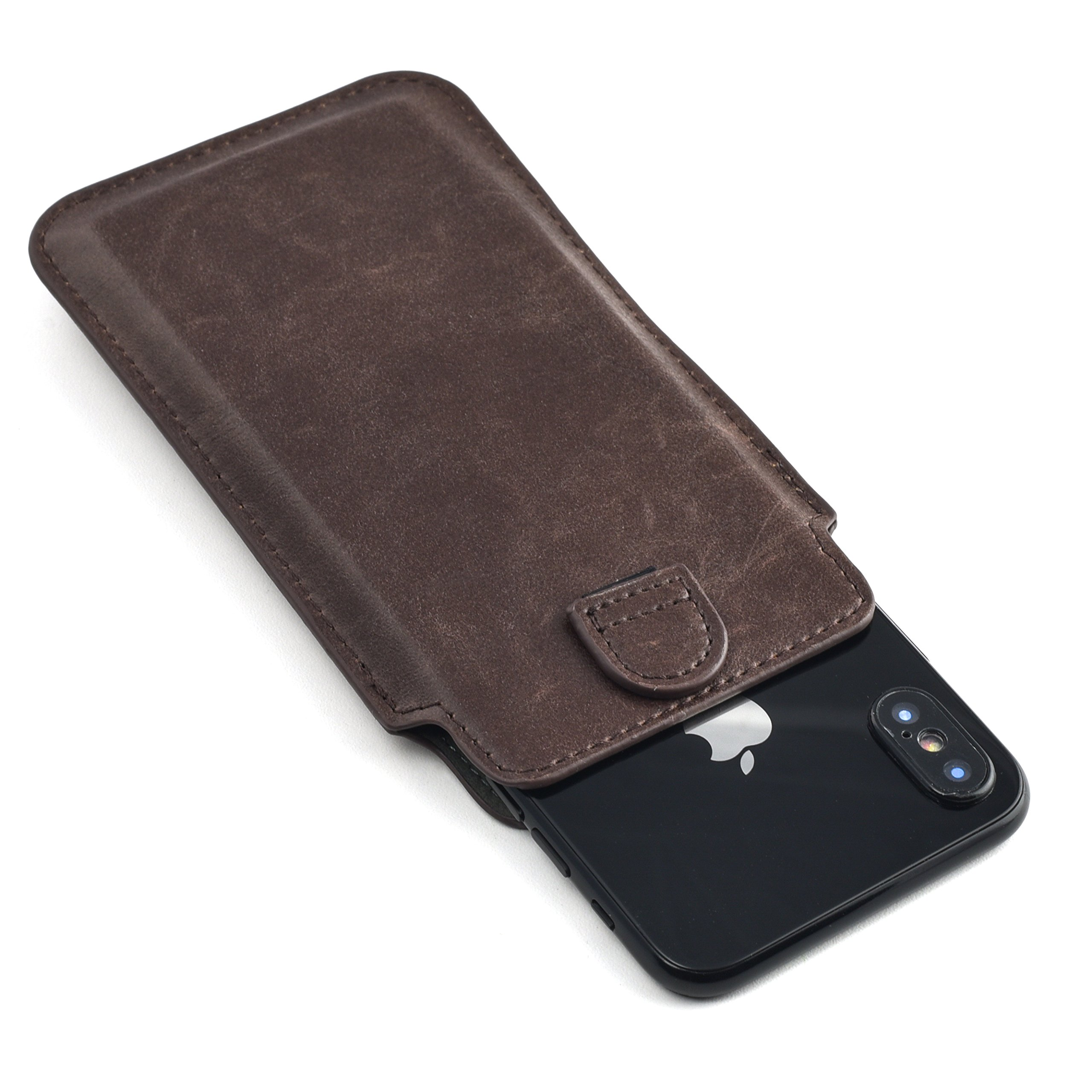 Dockem Provincial Wallet Sleeve for iPhone X; Ultra Slim Vintage Synthetic Leather Cover with 2 Card Holder Slots; Professional Executive Pouch Case [Brown] by Dockem (Image #2)