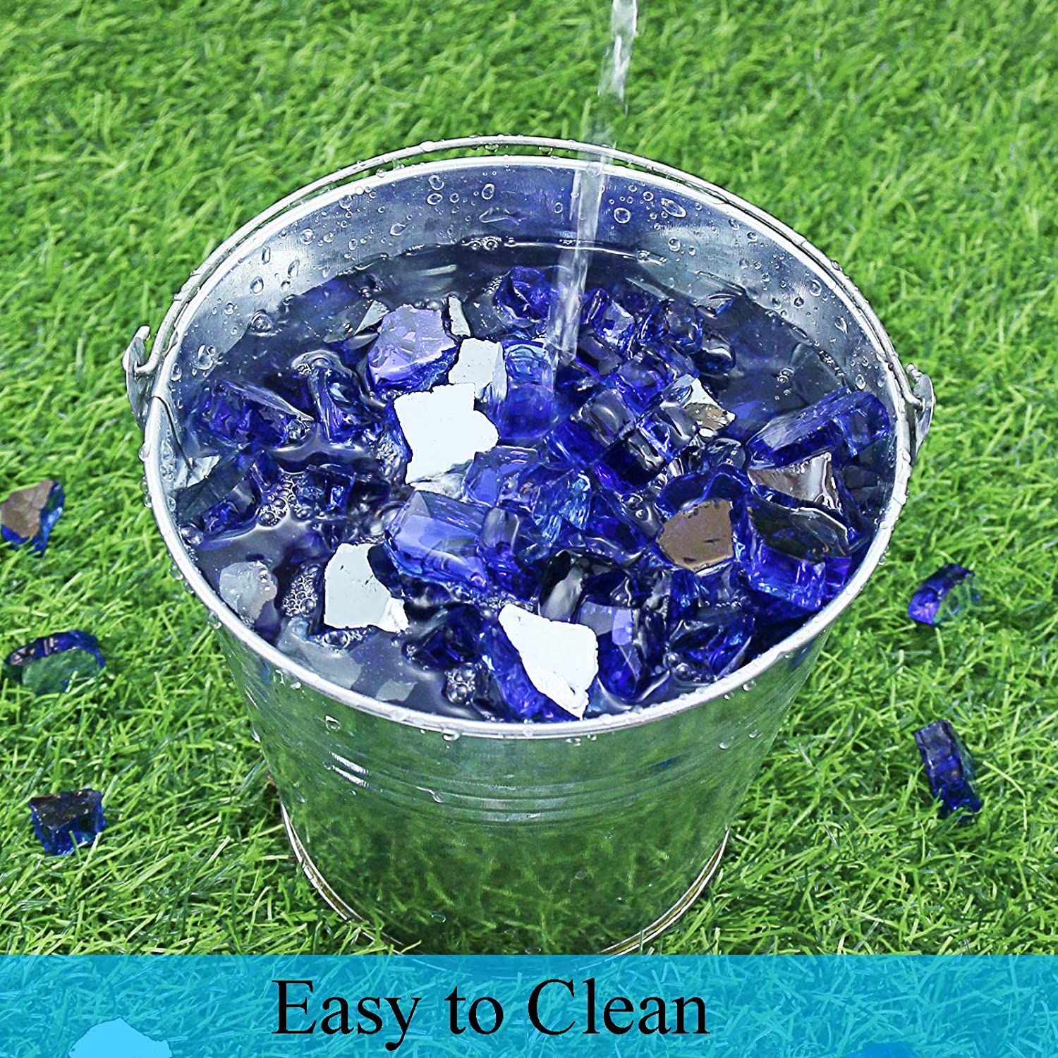 Tempered Glass Rocks Good for Indoor and Outdoor 10-Pounds Fireplace Hisencn 1//2 Inch Cobalt Blue Reflective Fire Glass Decorative for Natural or Propane Fire Pit