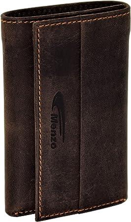 Menzo Estuche de llaves de auténtico cuero de búfalo para 6 llaves, compartimento para tarjetas de crédito, monedas y billetes, cartera-llavero, portallaves (marrón oscuro): Amazon.es: Equipaje