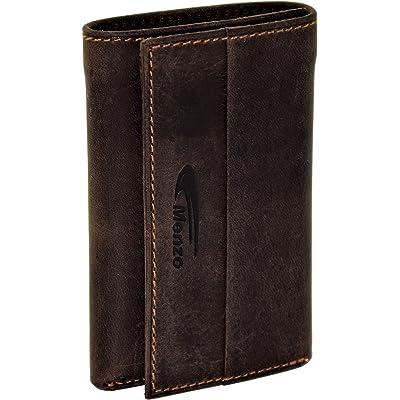 Menzo Estuche de llaves de auténtico cuero de búfalo para 6 llaves, compartimento para tarjetas de crédito, monedas y billetes, cartera-llavero, portallaves (marrón oscuro)