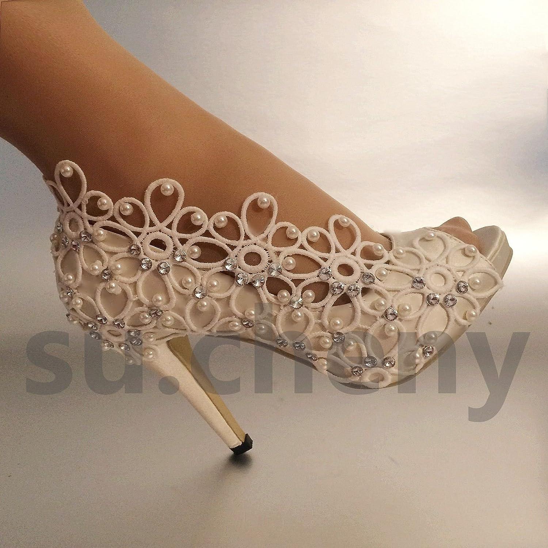 JINGXINSTORE Weiß Satin Lace Peep Toe 5-11 Strass Hochzeit Schuhe Größe 5-11 Toe Weiß d6828e