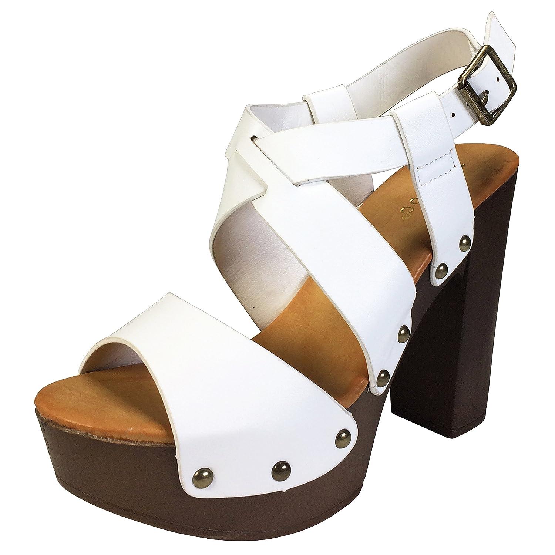 Bamboo Women's Cross Band Faux Wood Chunky Heel Platform Sandal B07CZNCT2V 10 B(M) US|White Pu