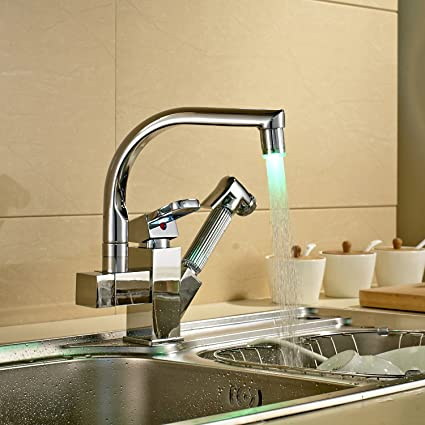 Rozinsanitary LED Spout Kitchen Sink Faucet Pull Out Hand Spray ...
