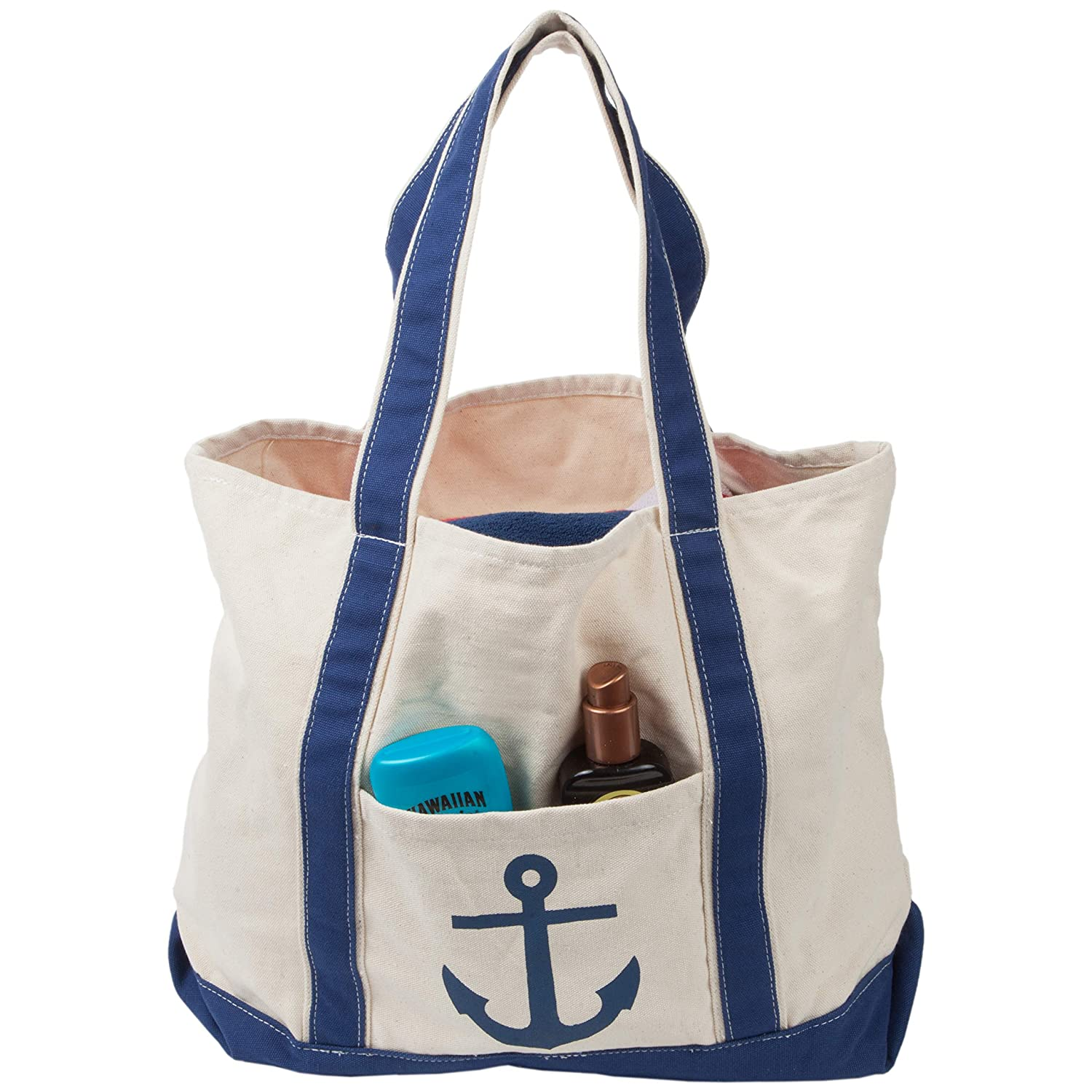 SC Recreational Canvas Anchor Beach Bag /& Pool Tote XL with Carabiner for Keys