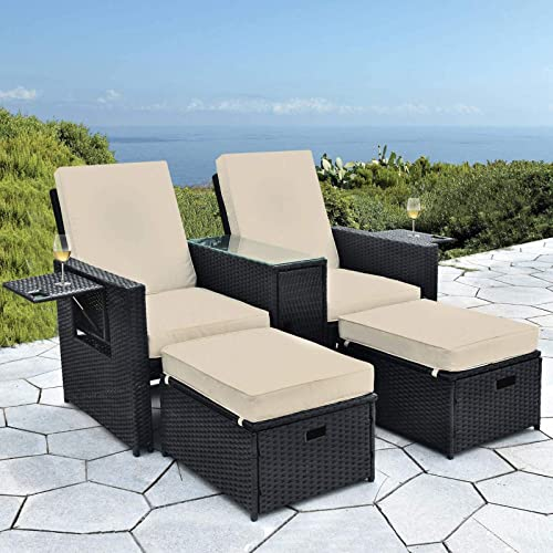 B BAIJIAWEI Patio Wicker Loveseat