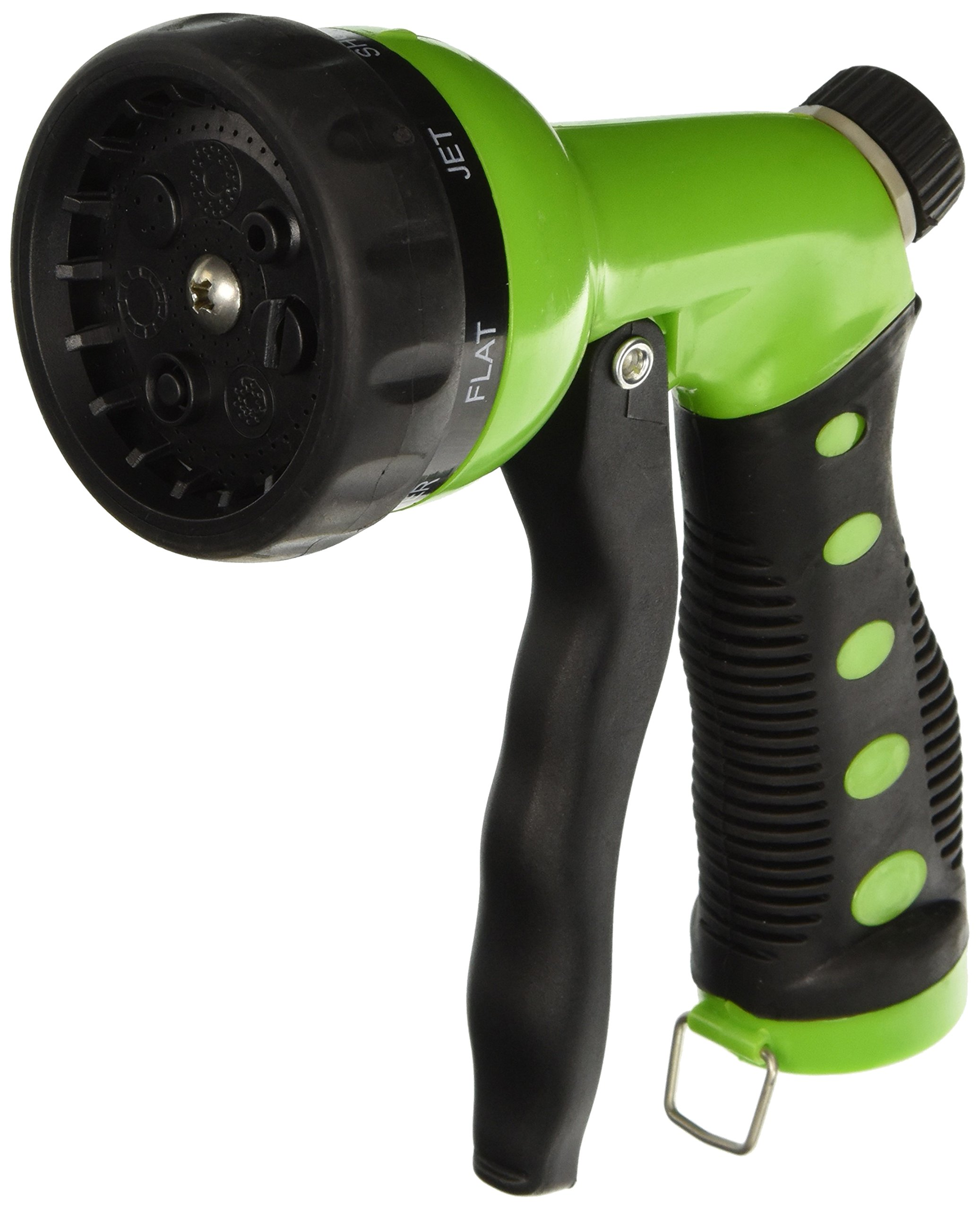 Hose Nozzle / Hand Sprayer - 7 Spray Settings Water Saving Plastic Garden Hose End Sprayer. Best Multi Purpose Attachment for Watering Lawn, Plants, Patio Cleaning, Home, Automotive / Car Wash Use - Ultimate 1 Year Replacement Warranty! Green Nozzle