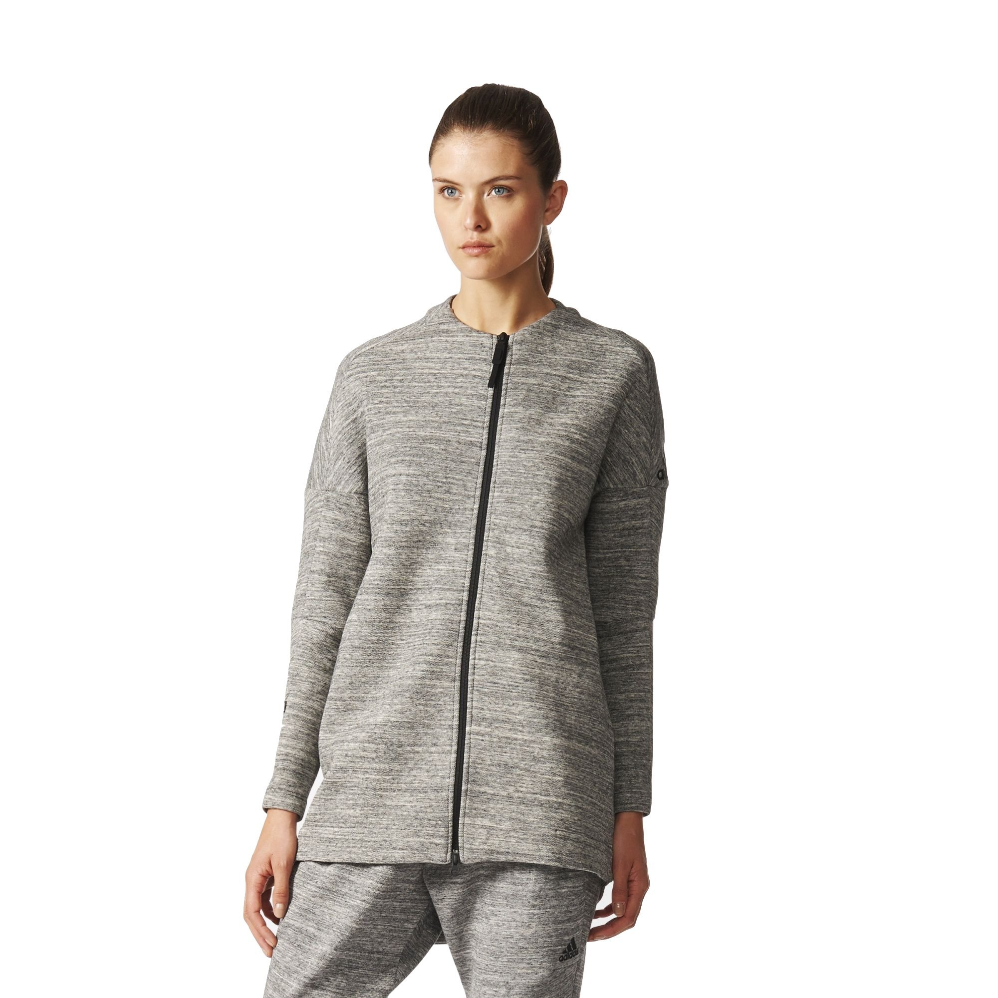 adidas Women's Z.N.E. Travel Jacket (L, Storm Heather/Medium Grey Heather)