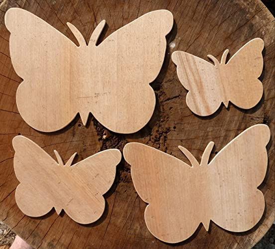 Beautiful Set Of 4 Different Sized Hand Crafted MDF Butterfly Drawing Templates