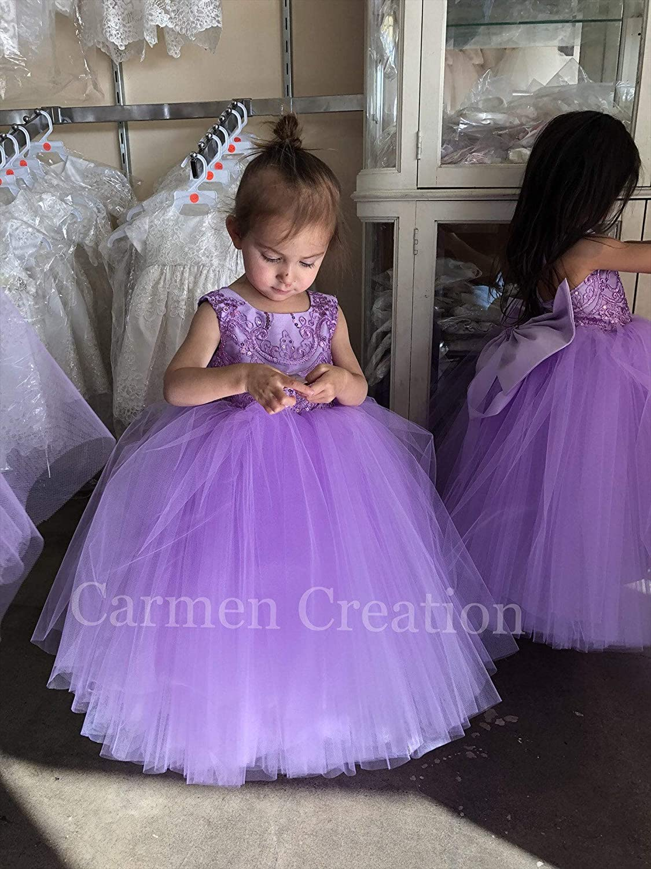 Amazon.com Lavender Lilac Flower Girl Dress Handmade