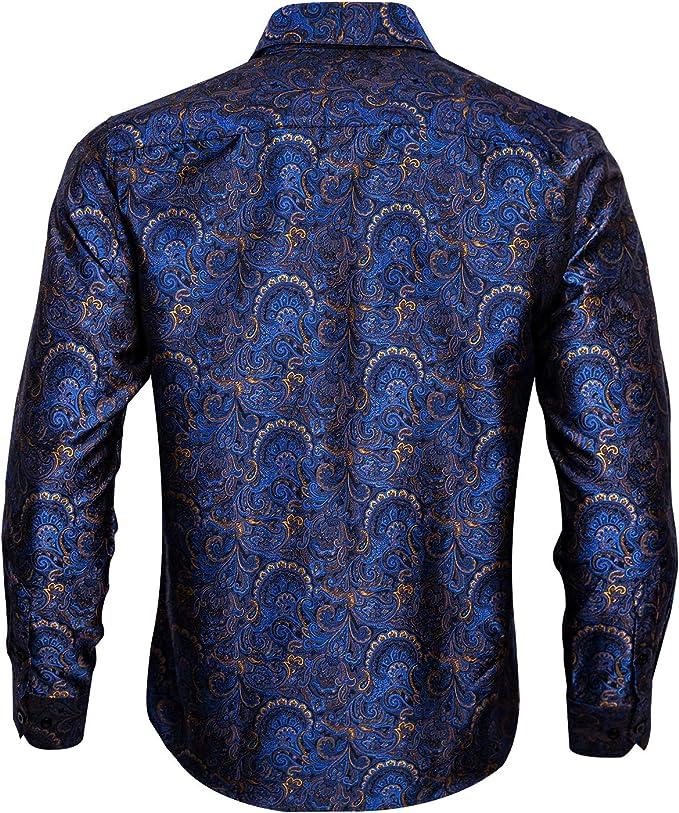 Barry.Wang - Camisa de vestir de manga larga de cachemira con diseño de flores para hombre: Amazon.es: Ropa y accesorios