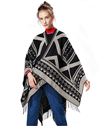 7221a3b1070e4 Bright Deer Women Aztec Ponchos and Capes Shawl Ethnic Tartan Plaid Checked Big  Scarf Tassel Fringe