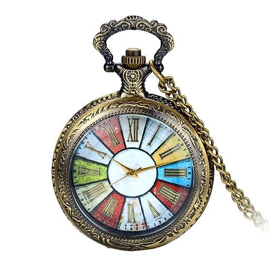 Avaner Reloj de Bolsillo Steampunk de Colores Transparente, Cuarzo Reloj de Colgante Con Cadena de
