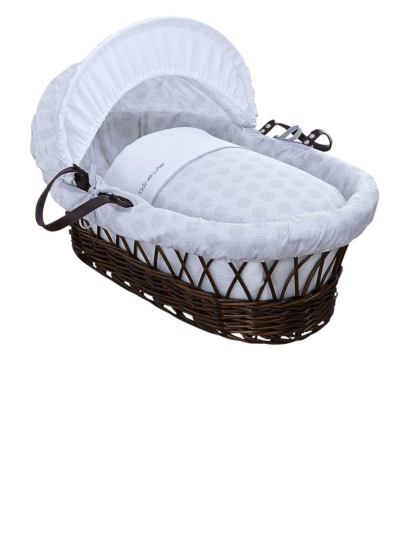 Clair de Lune Speckles oscuro mimbre Moisé s Basket inc. ropa de cama, colchó n y capucha ajustable (rosa) colchón y capucha ajustable (rosa) CL5856DPK