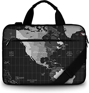 RICHEN Canvas Laptop Shoulder Bag Compatible with 11.6/12/12.9/13 Inches Laptop Netbook,Protective Canvas Carrying Handbag Briefcase Sleeve Case Cover with Side Handle (11-13 inch, Map)