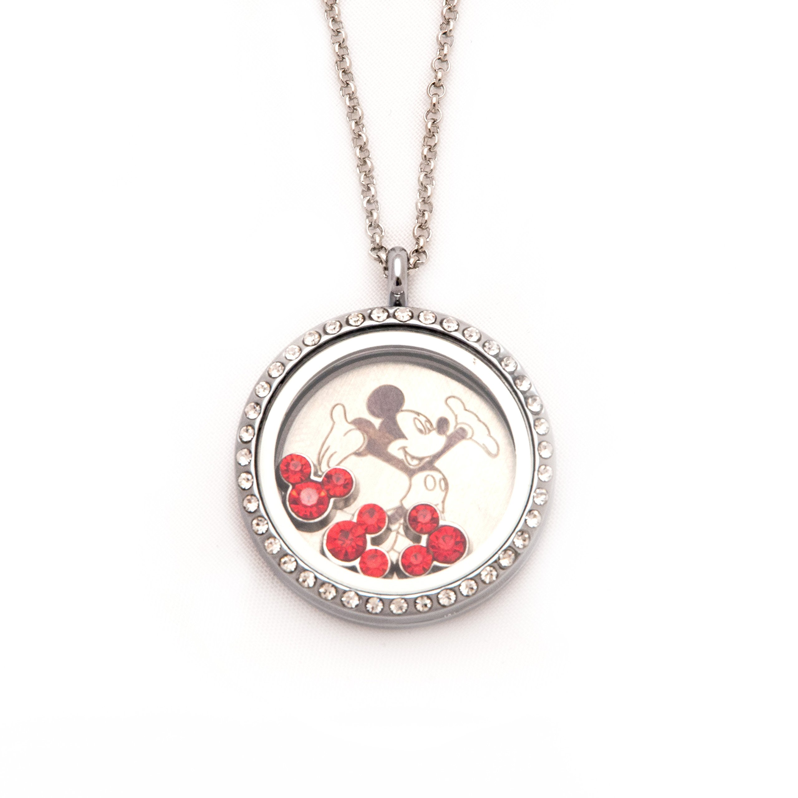 Fuller Joy 30mm Round Rhinestone Magnetic Floating Locket Necklace with Charms (Mickey)
