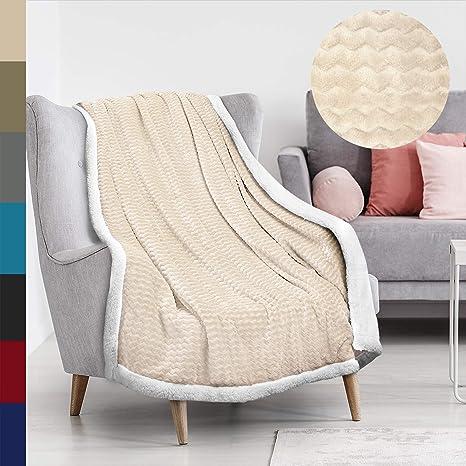 Tirrinia Soft Sherpa Chevron Throw Blanket For Sofa Or Couch Latte Reversible Fuzzy Micro Plush All Season Fleece Tv Blanket 50 X 60 Home Kitchen