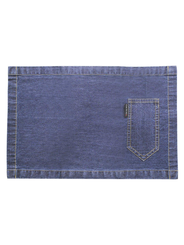 Set Of 4 Placemats, Denim Blue, 100% Cotton Table Mats, Size 13 x 19, Eco Friendly And Safe