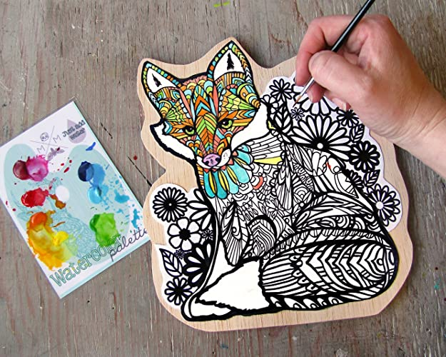 fox coloring canvas mounted print paint your own art kit watercolor coloring book painting