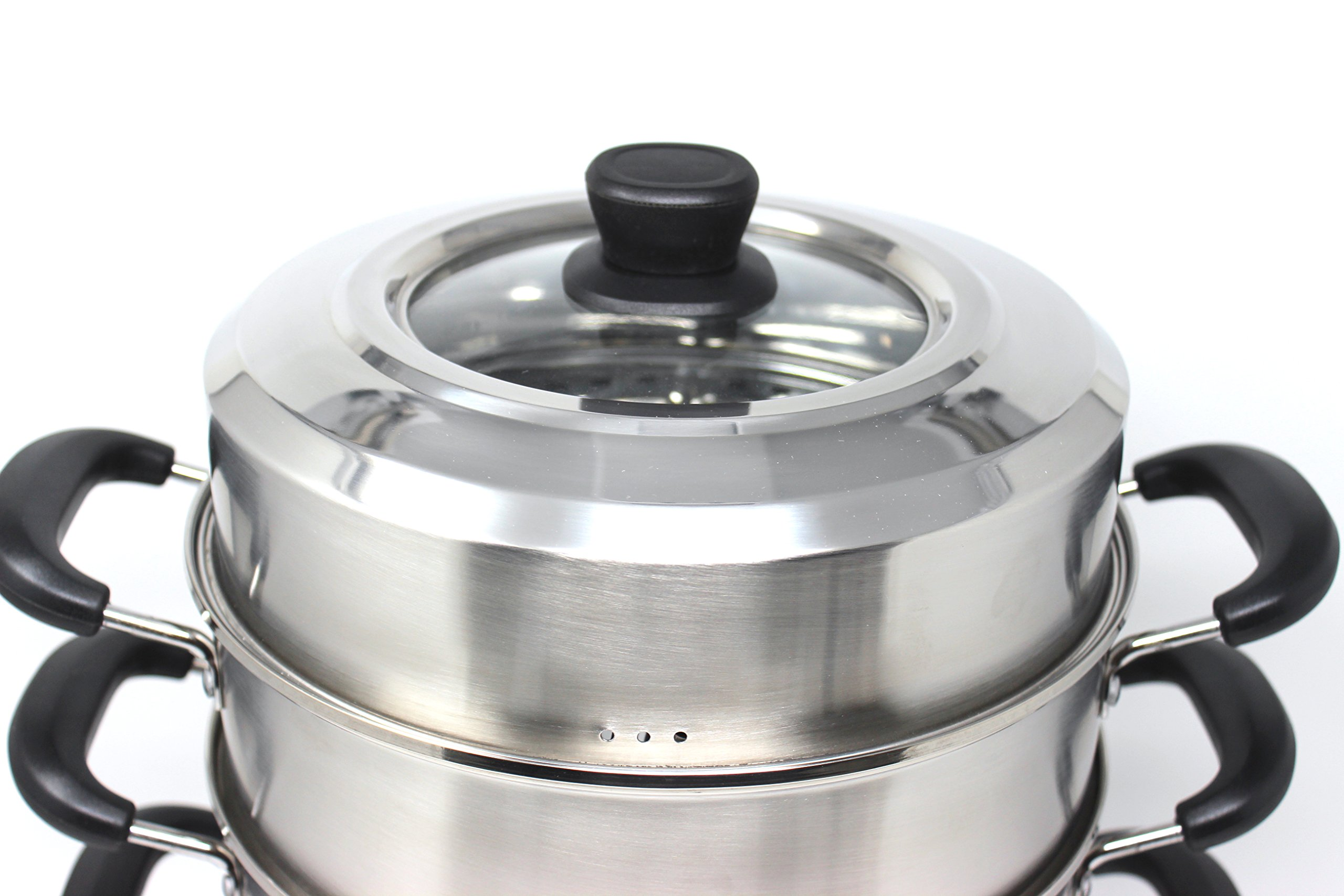 CONCORD 3 Tier Premium Stainless Steel Steamer Set (32 CM) by Concord Cookware (Image #3)