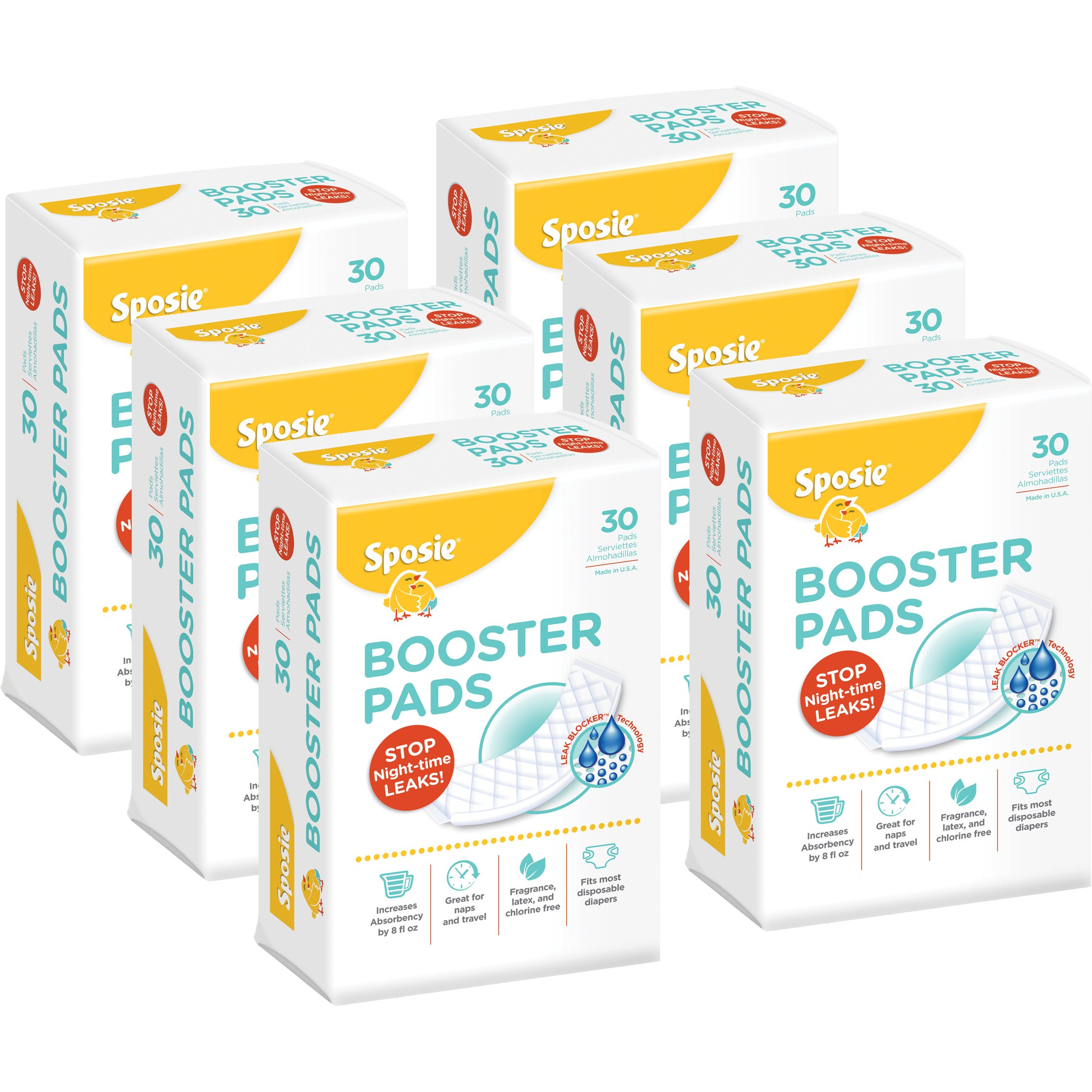Sposie Booster Pads Diaper Doubler, 180 Count, 6 Packs of 30 Pads (No Adhesive for Easy repositioning) by Select Kids
