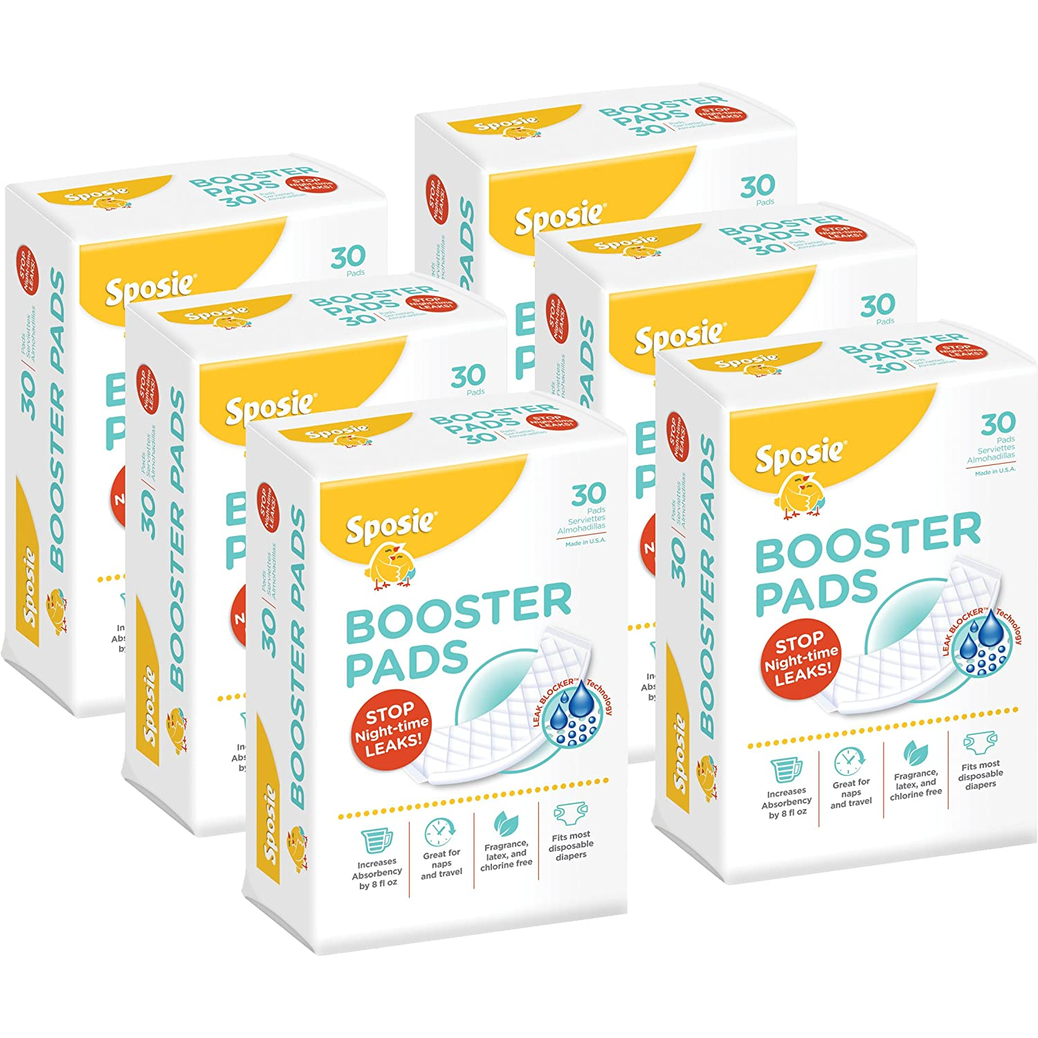 180 Count 6 Packs of 30 Pads Sposie Booster Pads Diaper Doubler