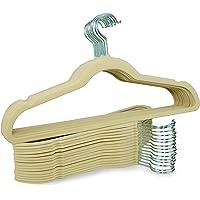 LimeLinen Velvet Hanger with notches on Shoulder. Bottom with bar, Durable Non-Slip Clothes Suit Color: Beige. 30pcs/Box