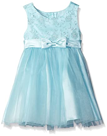 d0b13c0c6cb Bonnie Jean Little Girls' Embroidered Mesh to Tulle Dress, Turquoise, ...