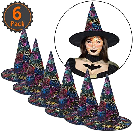 dd3482dba24 Amazon.com  Pawliss 6 Pack Halloween Dark Spider Web Witch Hats for Adults  Elphaba Costume Accessories for Women Witch Wreath Decoration  Toys   Games