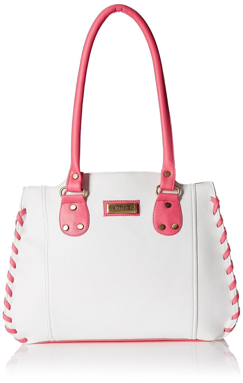Fantosy Women's Handbag (White and Pink) (FNB-286)