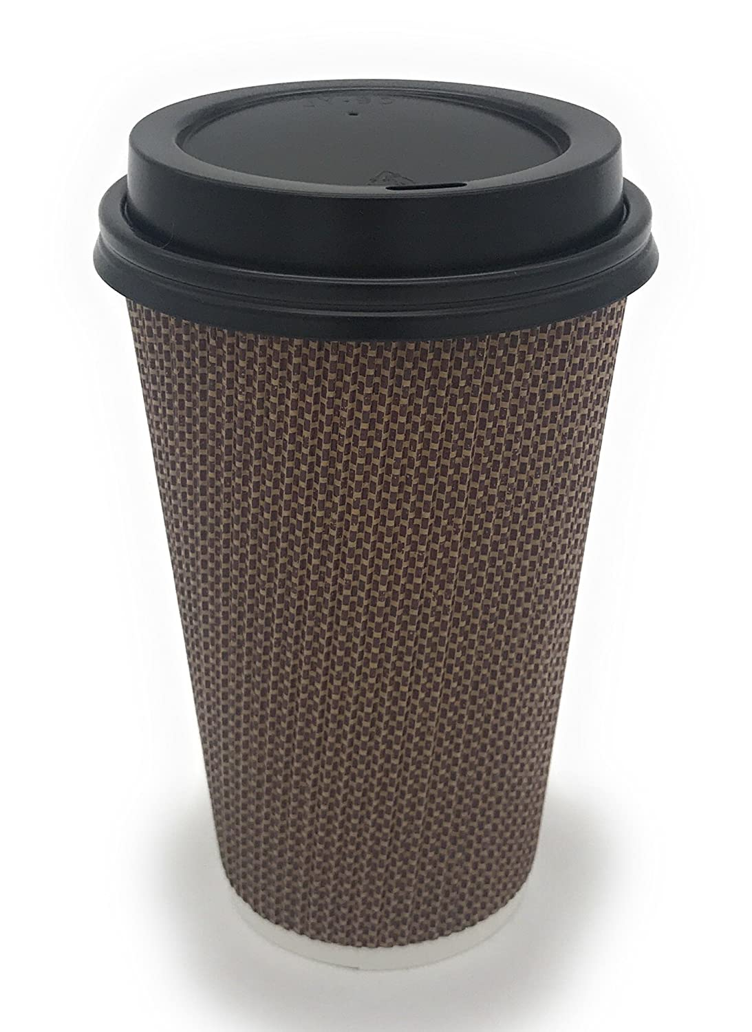 [340 COUNT] 16 oz Disposable Double Walled Hot Cups with Lids - No Sleeves needed Premium Insulated Ripple Wall Hot Coffee Tea Chocolate Drinks Perfect Travel To Go Paper Cup and lid Brown Geometric Harvest Pack HPI-DW-PCP-340