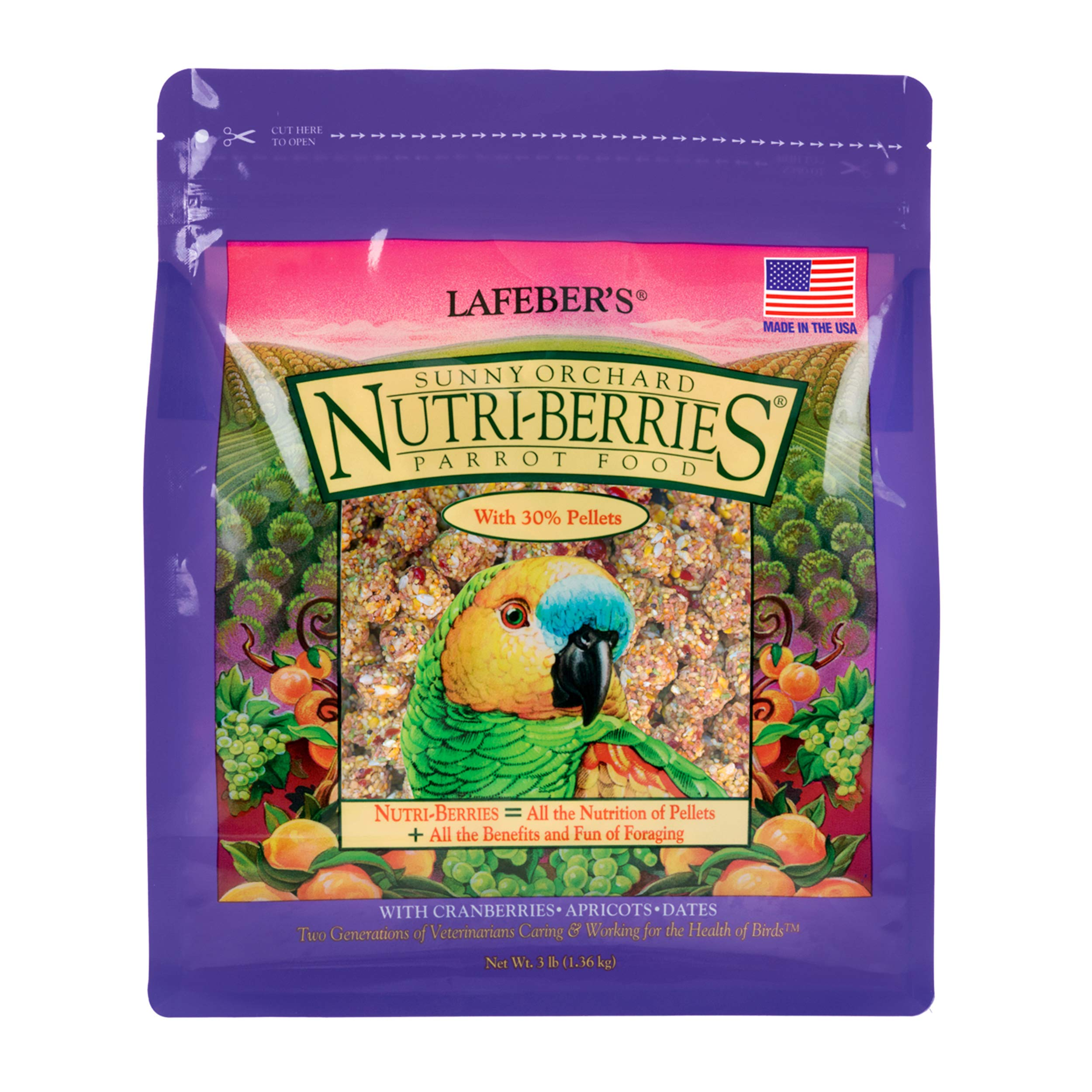 LAFEBER'S Sunny Orchard Nutri-Berries Pet Bird Food, Made with Non-GMO and Human-Grade Ingredients, for Parrots 3 lbs by LAFEBER'S