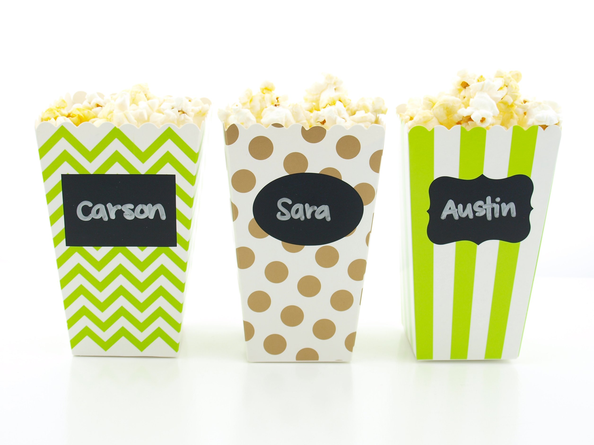 Dinosaur Party Popcorn Boxes & Black Label Chalkboard Vinyl Stickers (36 Pack) - Green & Brown Jurassic Dinosaur Party Favors, Mini Dino Movie Theater Popcorn Tubs for Dinosaurs Party Supplies