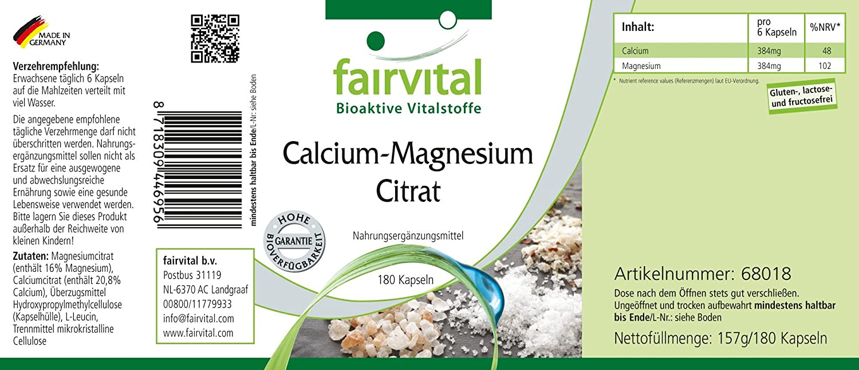 citrato de magnesio de calcio - 1 mes - VEGAN - 180 cápsulas - citrato de calcio y citrato de magnesio: Amazon.es: Salud y cuidado personal