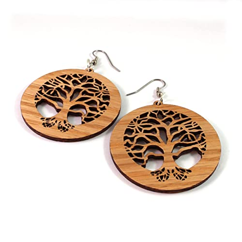 Amazoncom Tree Of Life Earrings Made Of Sustainable Oak Wood
