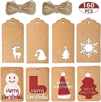 Geschenkanhänger aus Kraftpapier mit Kordel verschiedene Designs zur Auswahl