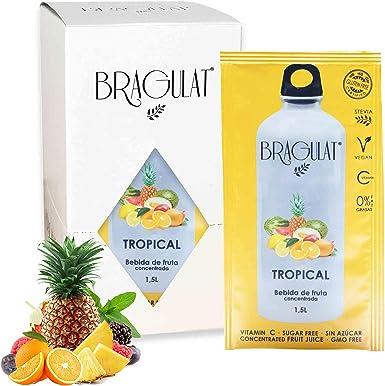 BRAGULAT | Zumo Concentrado de Frutas Tropicales | Bebidas y Refrescos Instantáneos en Polvo | Sin Azúcar y con Vitamina C | 15 Sobres