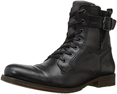 Steve Madden Men's Saxonn Combat Boot, Black Leather, ...