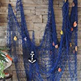 KINGSO Mediterranean Style Fishing Nets Decorative Background Wall Bar with Sea Shells Home Decor (Blue)