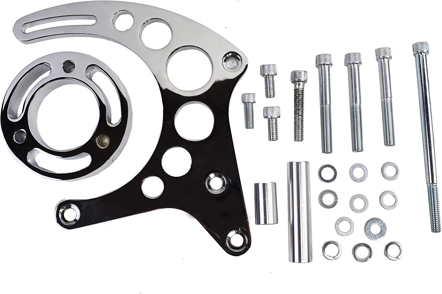 A-Team Performance Long Water Pump Mid-Mount Alternator Bracket Compatible with Chevrolet SBC Small Block Chevy V8 I Chrome GEN