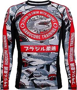 Hardcore Training Sharks Grey Men's Rash Guard Compression Shirt Long Sleeve MMA No-Gi Tight BJJ Grappling Base Layer Fitness