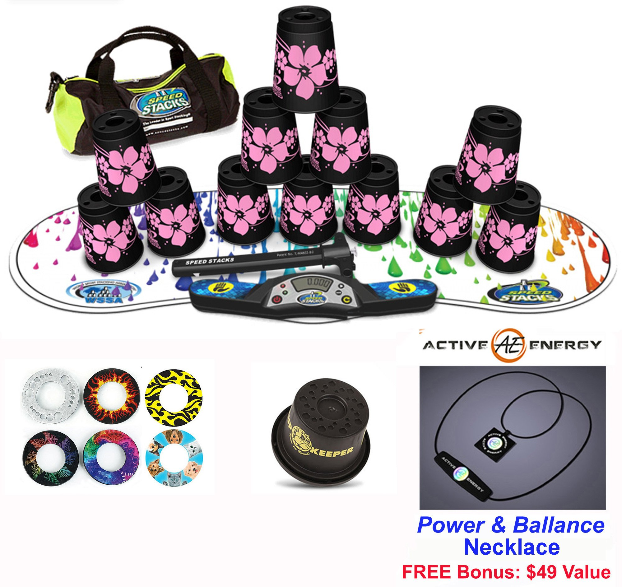 Speed Stacks Combo Set ''The Works'': 12 PINK HAWAIIAN 4'' Cups, RAINBOW DROP Gen 3 Mat, G4 Pro Timer, Cup Keeper, Stem, Gear Bag + Active Energy Necklace by Speed Stacks