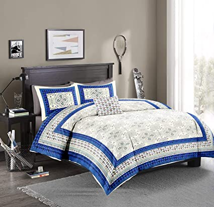 476e7bcbf6 Bellizo Fab 100% Pure Cotton (Casement Fabric) King Size Double Bedsheet ( 100 inch x 108 inch) with Two Pillow Cover (21 inch x 30 inch)-Blue:  Amazon.in: ...