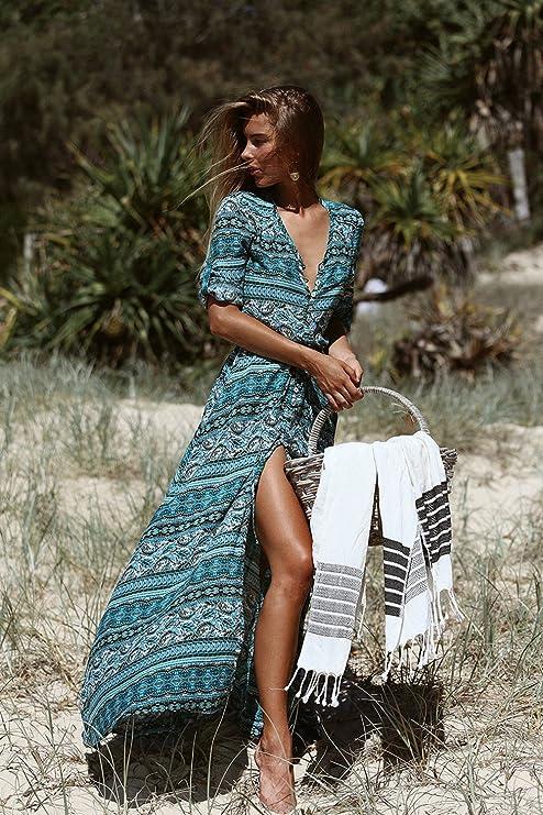 FOURSTEEDS Women's Button Up Split Floral Print Flowy Party Maxi Long Dress Wine 2XL