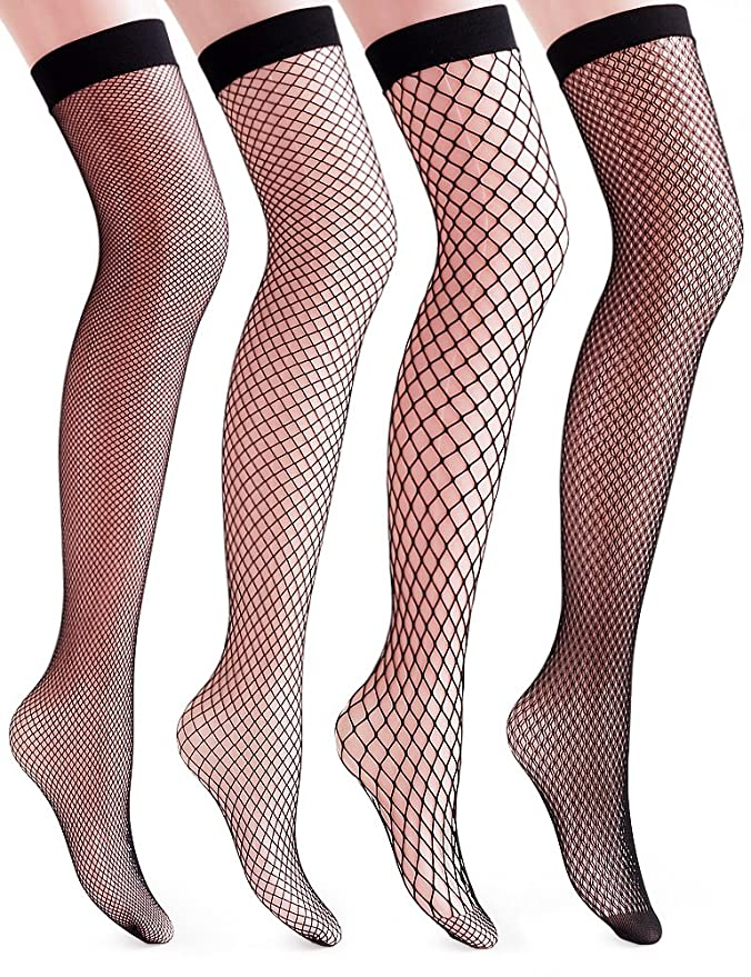 1920s Style Stockings & Socks  Fishnet Thigh High Socks - Stylish Black + Hollow Out $14.99 AT vintagedancer.com