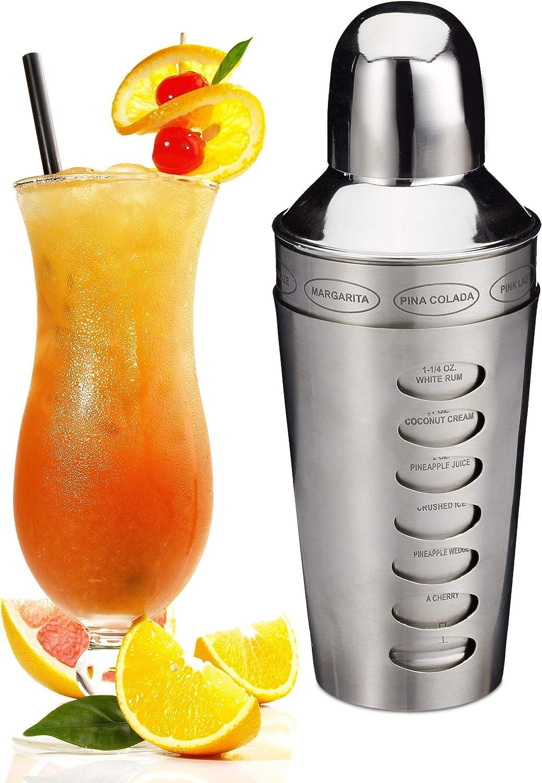 Relaxdays Coctelera Profesional, Accesorio para Barman, Plateado, Acero Inoxidable