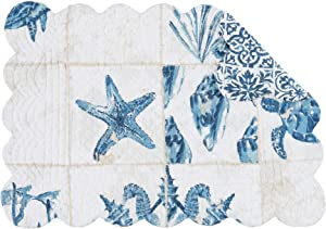 C&F Home Casablanca Bay Rectangle Placemat Set of 6 Cotton Quilted Coastal Beach Reversible Machine Washable Table Top Table Linens 13