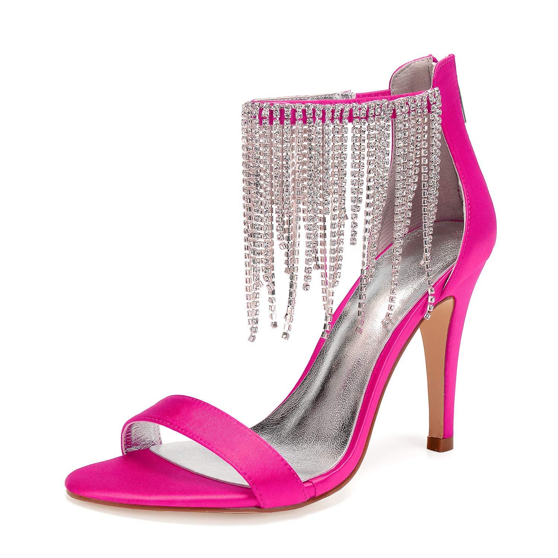 0b94eede258fd Amazon.com | LLBubble Women High Heels Satin Crystals Tassel Wedding ...